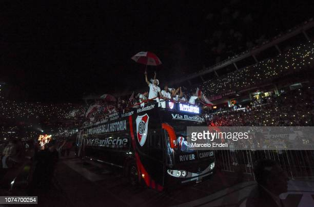 Players of River Plate take part in the celebrations at Antonio Vespucio Liberti Stadium after winning the Copa CONMEBOL Libertadores Final against...