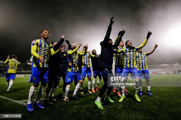 Players of RKC Waalwijk celebrates the victory after the game during the Dutch Keuken Kampioen Divisie match between RKC Waalwijk v Ajax U23 at the...