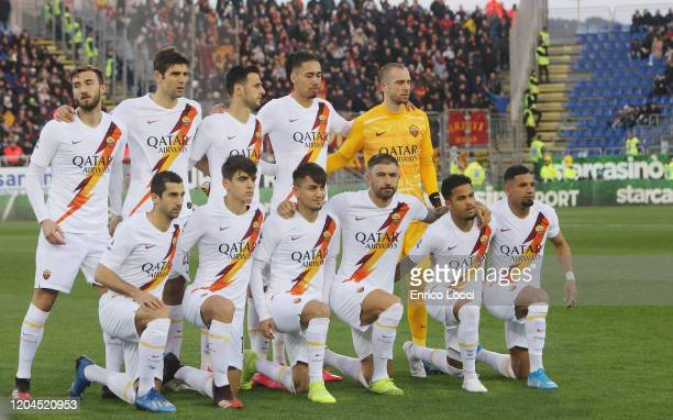 Players of Roma pose before the Serie A match between Cagliari Calcio and AS Roma at Sardegna Arena on March 1 2020 in Cagliari Italy