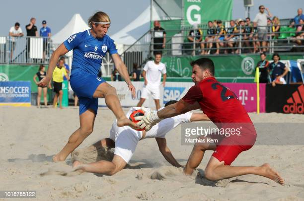 A general view during the German Beachsoccer Tour semi final match between Curva 69 and 1FC 0815 Friedrichsdorf on August 18 2018 in Warnemunde...