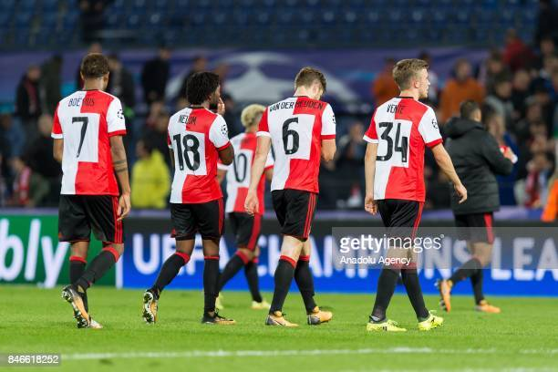 Players of Rotterdam looks dejected after the UEFA Champions League group F match between Feyenoord Rotterdam and Manchester City at...