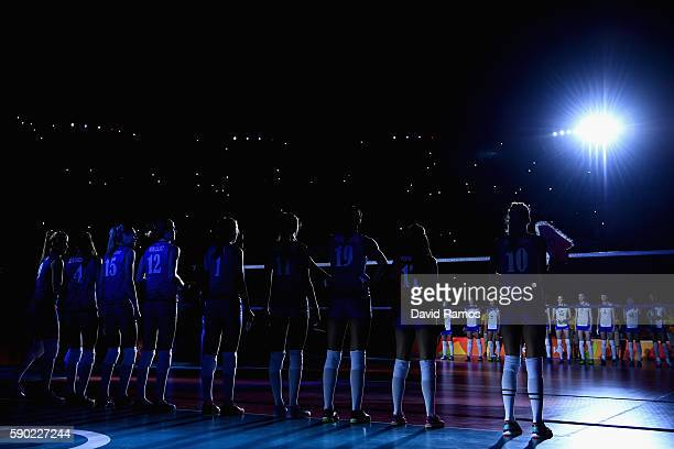 Players of Russia and Serbia line up prior to the Women's Quarterfinal match between Russia and Serbia on day 11 of the Rio 2106 Olympic Games at the...