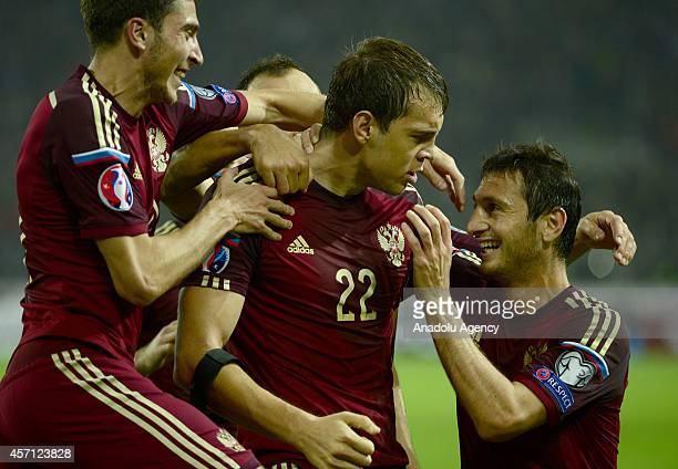 Players of Russia celebrate after a goal during the UEFA Euro 2016 qualifying Group G game between Russia and Moldova at Otkrytie Arena in Moscow...