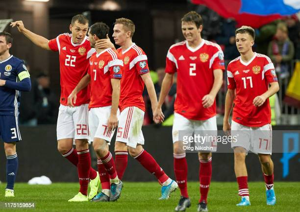 Players of Russia celebrates a goal during the UEFA Euro 2020 qualifier between Russia and Scotland on October 10, 2019 in Moscow, Russia.