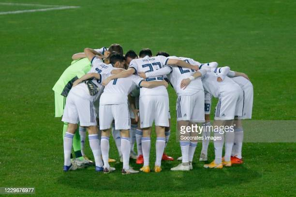 Players of Russia during the UEFA Nations league match between Serbia v Russia at the Stadion Rajko Mitic on November 18, 2020 in Belgrade Serbia