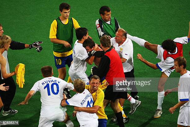 Players of Russia fight with players of Ukraine after Russia lost the final match by 12 in the FiveASide Football between Russia and Ukraine at...
