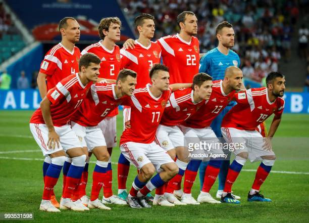 Players of Russia pose for a photo ahead of the 2018 FIFA World Cup Russia quarter final match between Russia and Croatia at the at the Fisht Stadium...