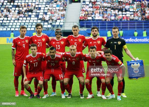 Players of Russia pose for a photo ahead of the FIFA Confederations Cup 2017 opening match between Russia and New Zealand at SaintPetersburg Stadium...