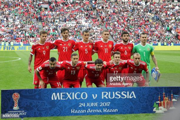 Players of Russia pose for a team photo ahead of the FIFA Confederations Cup 2017 group A soccer match between Mexico and Russia at 'KazanArena'...