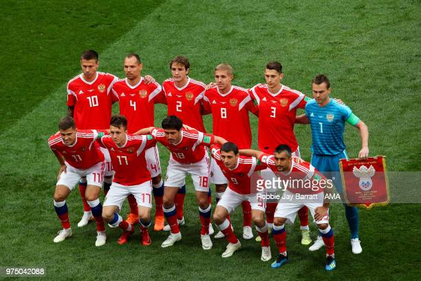 Players of Russia pose for a team photo during the 2018 FIFA World Cup Russia group A match between Russia and Saudi Arabia at Luzhniki Stadium on...