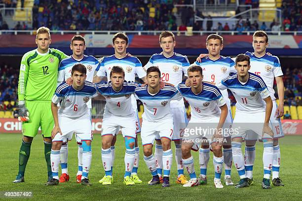 Players of Russia pose for a team photo prior to the FIFA U17 World Cup Chile 2015 Group E match between Korea DPR and Russia at Estadio Municipal de...