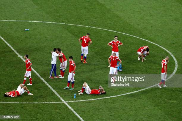 PLayers of Russia show their dejection following the defeat in the 2018 FIFA World Cup Russia Quarter Final match between Russia and Croatia at Fisht...