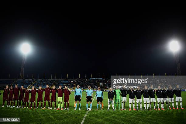 Players of Russia U21 and of Germany U21 during the 2017 UEFA European U21 Championships qualifier match between Russia U21 and Germany U21 at Olimp...