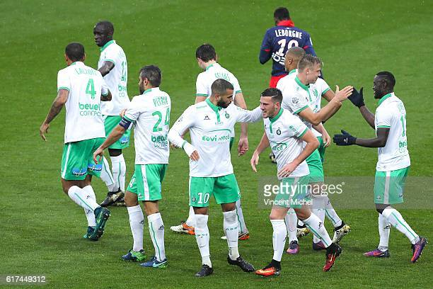 Players of Saint Etienne jubilate after Jordan Vertout scoring the second goal during the Ligue 1 match between SM Caen and AS Saint-Etienne at Stade...