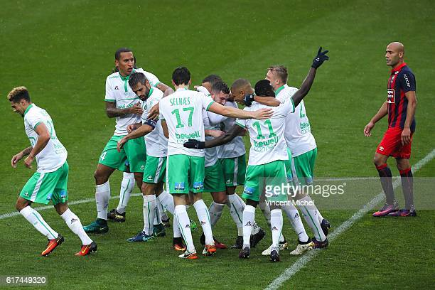 Players of Saint Etienne jubilate after Jordan Vertout scoring the second goal during the Ligue 1 match between SM Caen and AS SaintEtienne at Stade...
