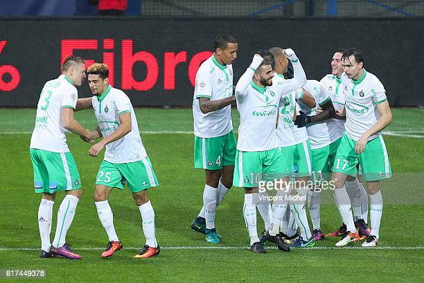 Players of Saint Etienne jubilate after the first goal during the Ligue 1 match between SM Caen and AS SaintEtienne at Stade Michel D'Ornano on...
