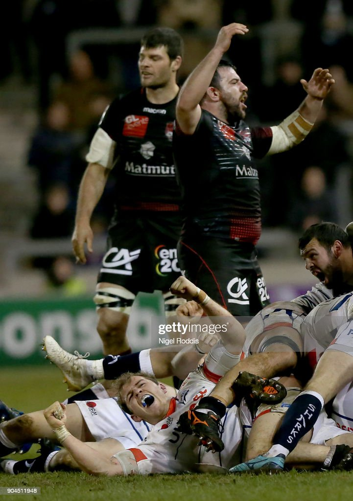 Players of Sale Sharks and Lyon react the European Rugby Challenge Cup match between Sale Sharks and Lyon at the AJB Stadium on January 13, 2018 in Salford, United Kingdom.