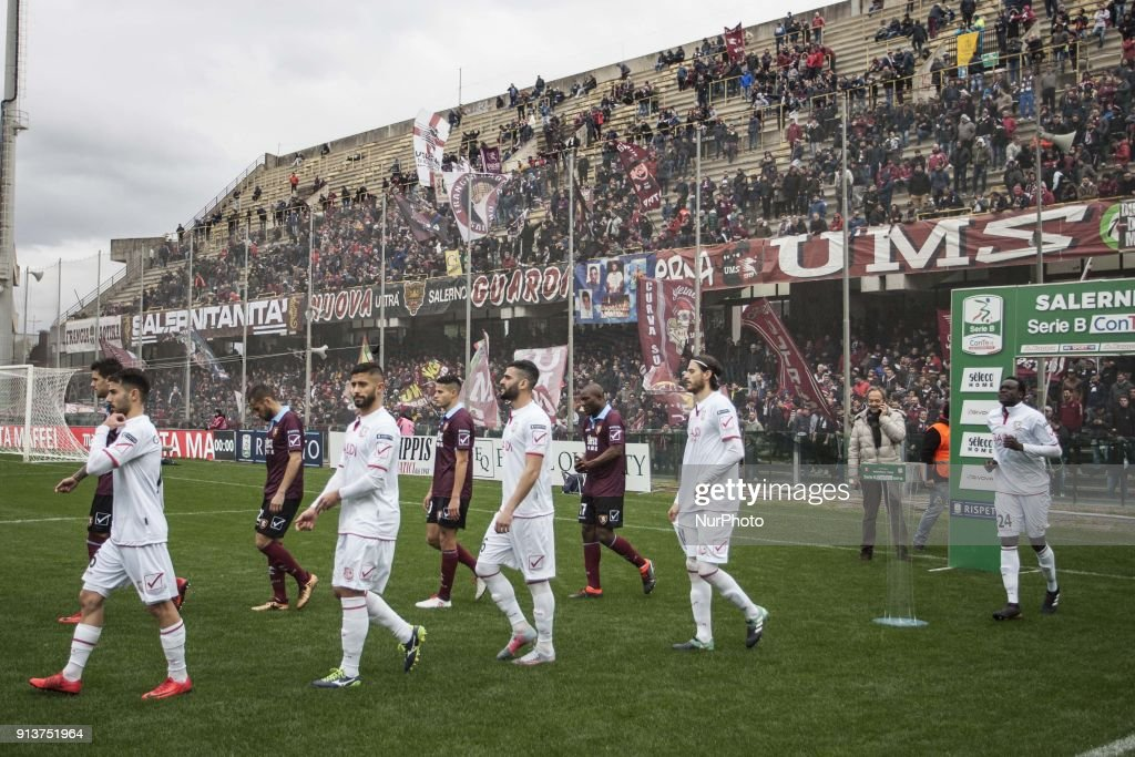 Players of Salernitana and Carpi entry during Italy Serie B match between US Salernitana and Carpi FC at Stadium Arechi in Salerno, Italy, on 2 February 2018.