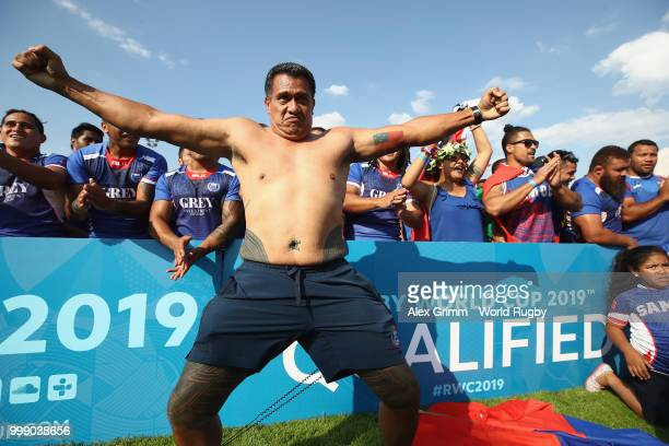 Players of Samoa celebrate after the Germany v Samoa Rugby World Cup 2019 qualifying match on July 14 2018 in Heidelberg Germany