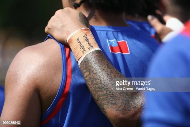 Players of Samoa leave the pitch after warming up for the Germany v Samoa Rugby World Cup 2019 qualifying match on July 14 2018 in Heidelberg Germany