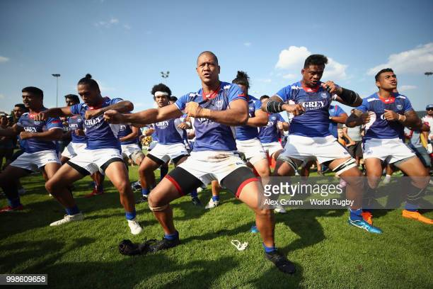 Players of Samoa perform the Siva Tau after defeating Germany in their Rugby World Cup 2019 qualifying match on July 14 2018 in Heidelberg Germany