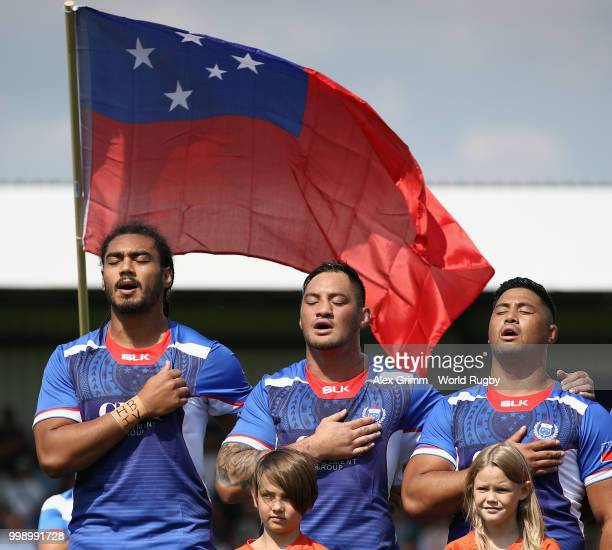 Players of Samoa sing their national anthem prior to the Germany v Samoa Rugby World Cup 2019 qualifying match on July 14 2018 in Heidelberg Germany