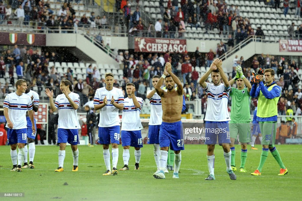 players of Sampdoria at the end of the Serie A match between Torino FC and UC Sampdoria at Stadio Olimpico di Torino on September 17, 2017 in Turin, Italy.