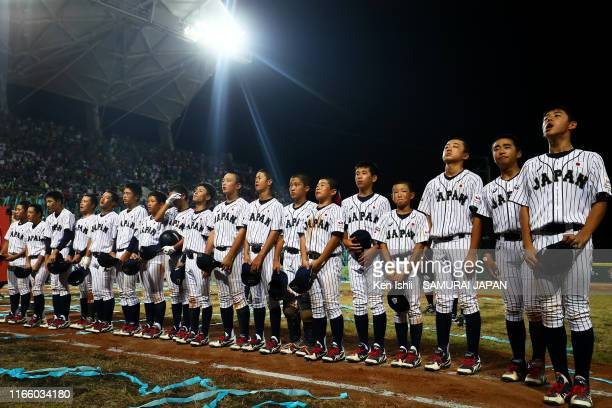 Players of SAMURAI JAPAN line up after the WBSC U-12 Baseball World Cup final between Japan and Chinese taipei at ASPAC Youth on August 04, 2019 in...