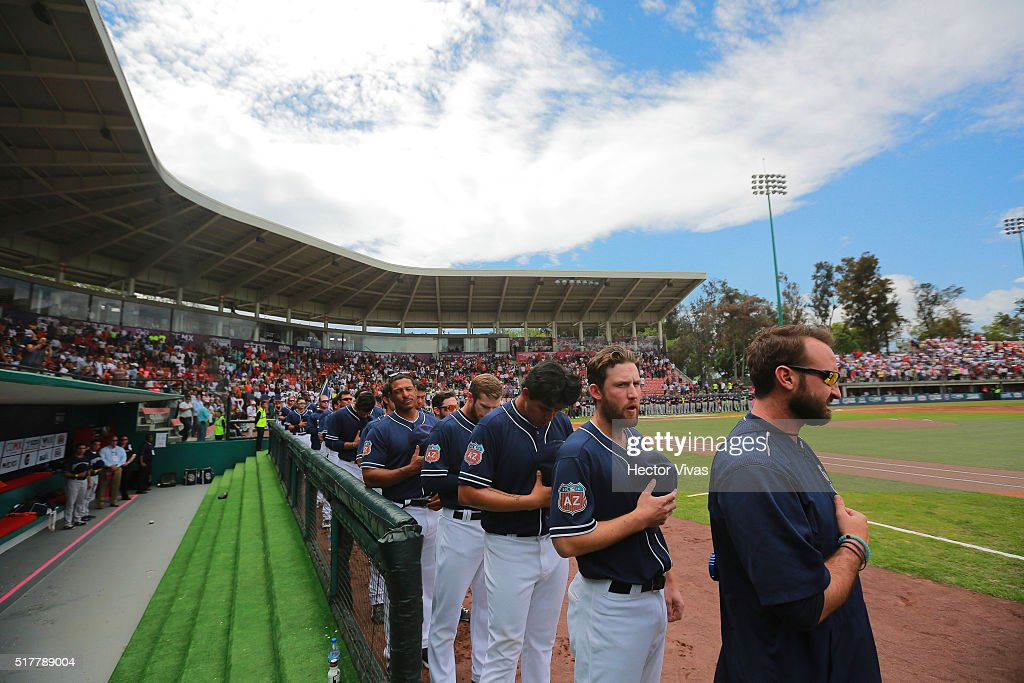 Players of San Diego Padres stand prior the preseason match between Houston Astros and San Diego Padres at Fray Nano Stadium on March 27, 2016 in Mexico City, Mexico.
