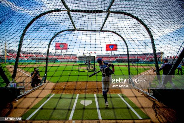 Players of San Diego Padres warm up prior a friendly game between San Diego Padres and Diablos Rojos at Alfredo Harp Helu Stadium on March 23 2019 in...
