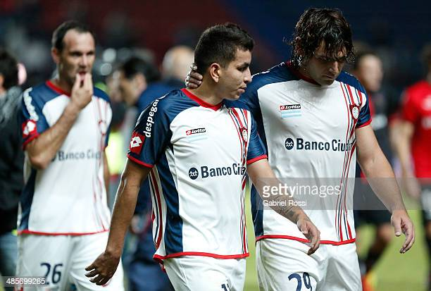 Players of San Lorenzo looks dejected after finish a match between San Lorenzo and Newell's Old Boys as part of round 15 of Torneo Final 2014 at...