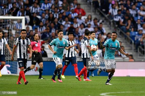 Players of San Luis celebrate after Germán Berterame scored his team's first goal during the 9th round match between Monterrey and Atletico San Luis...