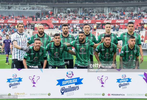 Players of San Martin de San Juan pose for a team photo prior to the first during a match between River Plate and San Martin de San Juan as part of...