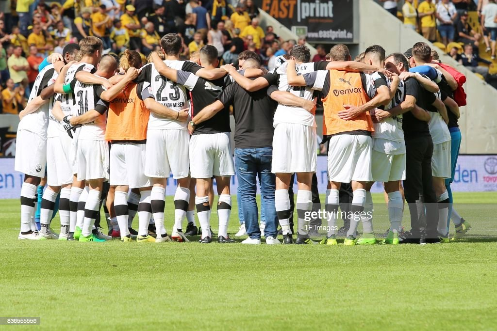 Players of Sandhausen are seen during the Second Bundesliga match between Dynamo Dresden and SV Sandhausen at DDV-Stadion on August 19, 2017 in Dresden, Germany.