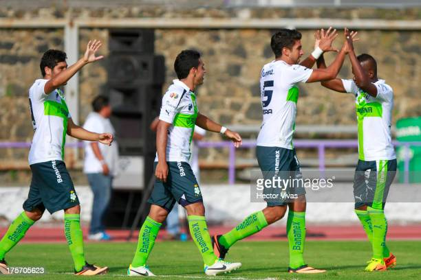 Players of Santos celebrate a scored goal against Zacatepec during a match between Zacatepec and Santos as part of the Copa MX at Centenario Stadium...