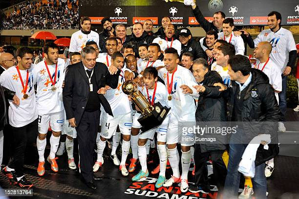 Players of Santos celebrate the title after the second leg of the final of the Recopa Sudamericana 2012 between Santos and Universidad do Chile as...