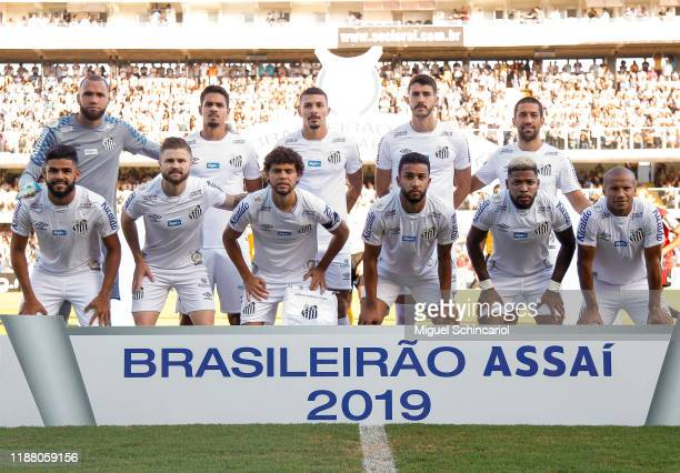 Players of Santos pose for the team photo before a match between Santos and Sao Paulo for the Brasileirao Series A 2019 at Vila Belmiro Stadium on...