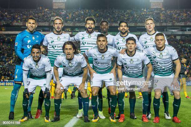 Players of Santos pose prior the 2nd round match between Tigres UANL and Santos Laguna as part of the Torneo Clausura 2018 Liga MX on January 13 2018...