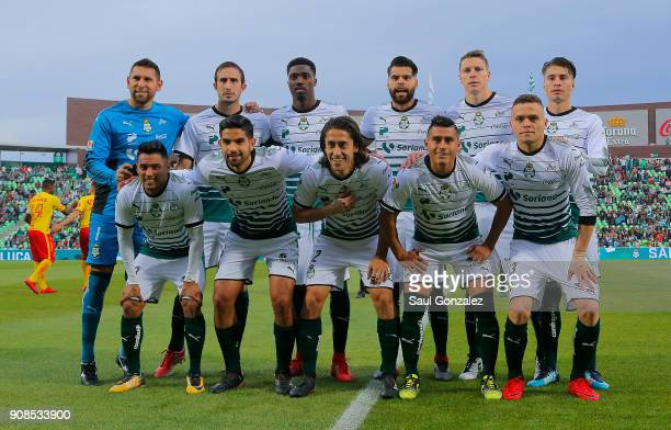 Players of Santos pose prior the 3rd round match between Santos Laguna and Morelia as part of the Torneo Clausura 2018 Liga MX at Corona Stadium on...