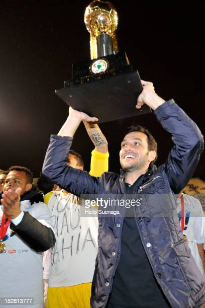 Players of Santos raise the trophy after win the second leg of the final of the Recopa Sudamericana 2012 between Santos and Universidad do Chile as...