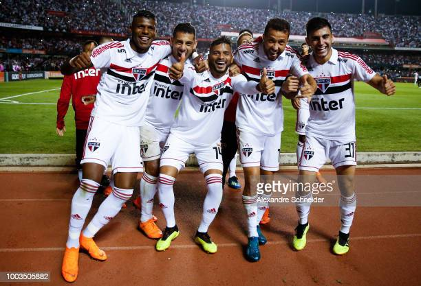 Players of Sao Paulo celebrate their third goal during the match between Sao Paulo and Corinthians for the Brasileirao Series A 2018 at Morumbi...