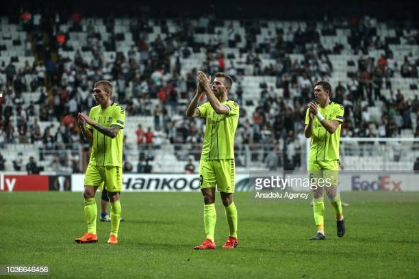 Players of Sarpsborg greet the fans after losing UEFA Europa League Group I soccer match against Besiktas at Vodafone Park in Istanbul Turkey on...