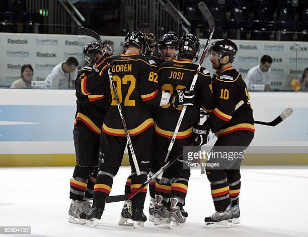 Players of SC Bern celebrate the 2-0 goal during the Champions Hockey League Qualification Match between SC Bern and HC Kosice on September 13, 2008...
