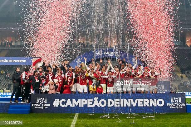 Players of SC Braga hold the Taça da Liga - Allianz Cup Trophy following the Taca da Liga - Allianz CUP Final match between SC Braga and FC Porto at...