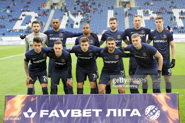 Players of SC Dnipro-1 pose for a team photo before the Ukrainian Premier League Matchday 17 game against FC Oleksandriia at the Dnipro Arena,...
