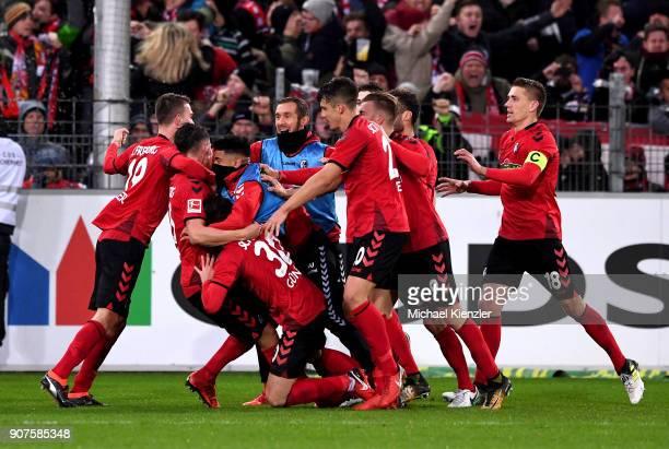 Players of SC Freiburg celebrate 21 of Robin Koch during the Bundesliga match between SportClub Freiburg and RB Leipzig at SchwarzwaldStadion on...
