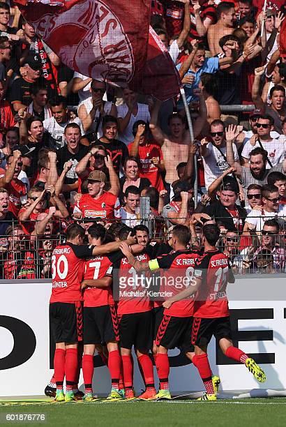 Players of SC Freiburg celebrating goal of Maximilian Philipp during the Bundesliga match between Sport Club Freiburg and Borussia Moenchengladbach...