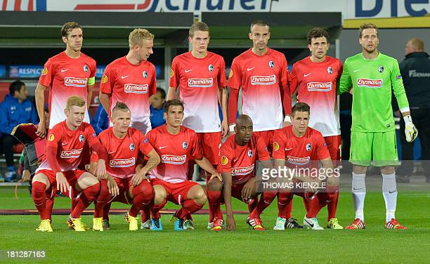 Players of SC Freiburg pose prior to the UEFA Europa League group H match SC Freiburg vs FC Slovan Liberec in Freiburg, southwestern Germany, on...
