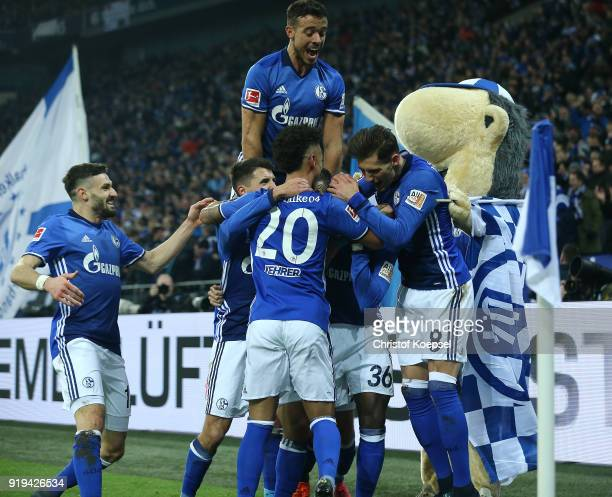 Players of Schalke celebrate a goal by Breel Embolo of Schalke which was later disallowed due to offside during the Bundesliga match between FC...