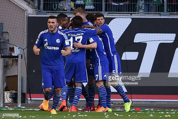 Players of Schalke celebrate the first team goal during the Bundesliga match between VfL Wolfsburg and FC Schalke 04 at Volkswagen Arena on April 19...